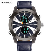 men sports dual display watches BOAMIGO brand men leather quartz watch LED digital wristwatches 30m waterproof with gift box