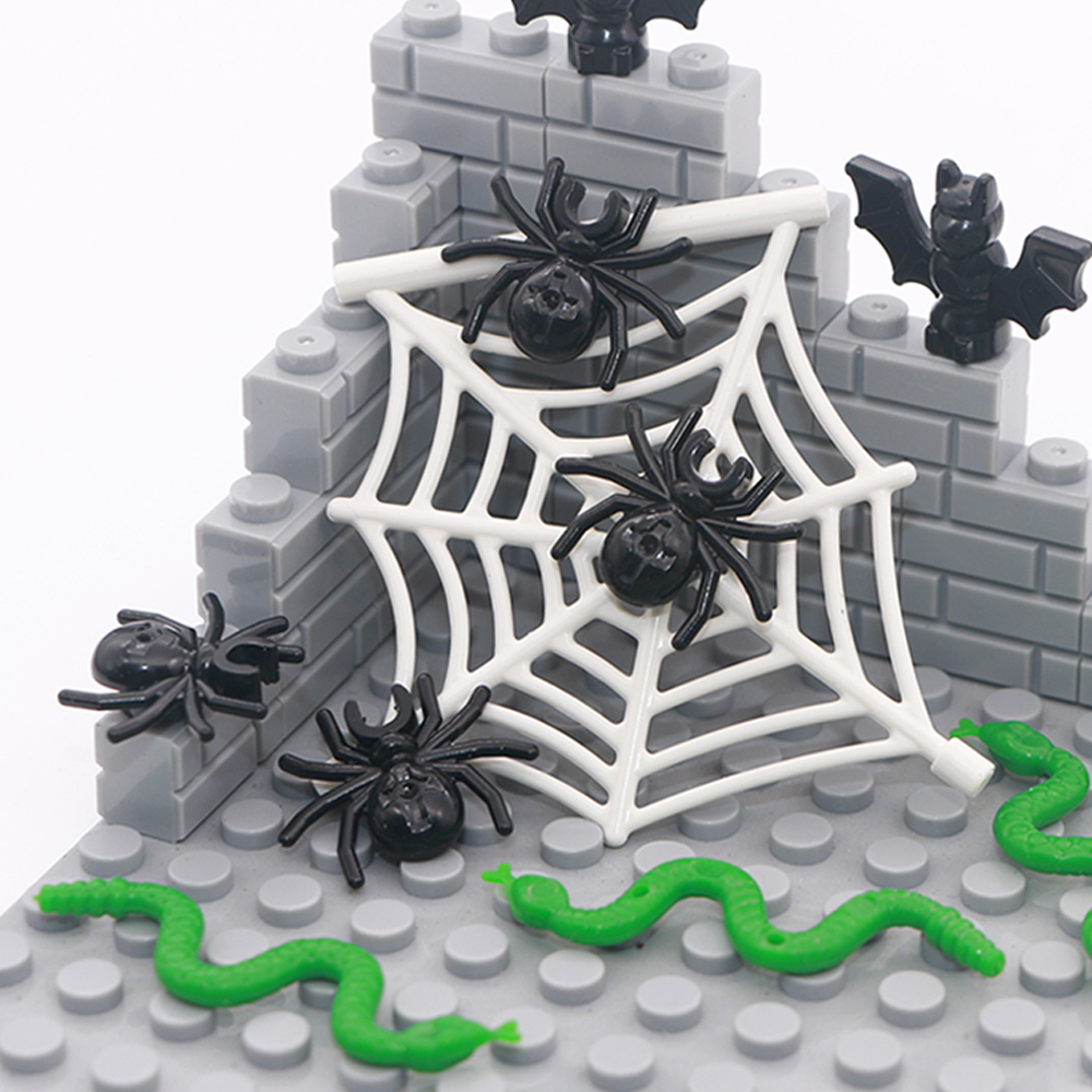 Compatible LegoINGlys City Animal Building Blocks Bat Spider Web Snake Superhero Jungle Garden Park Zoo Friends MOC Bricks Toys
