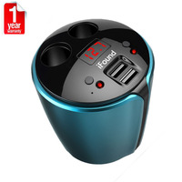 2 USB Car SUV Boat Charger Cup Holder Dual Cigarette Lighter Sockets Power Adapter Ports LED Auto SVU for iPhone Plus MP3 Ipad