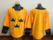 New Ice Hockey Jersey 30 Henrik Lundqvist Black Friday Team Sweden Blank  Gold Stitched Men Hockey ec74a81f5