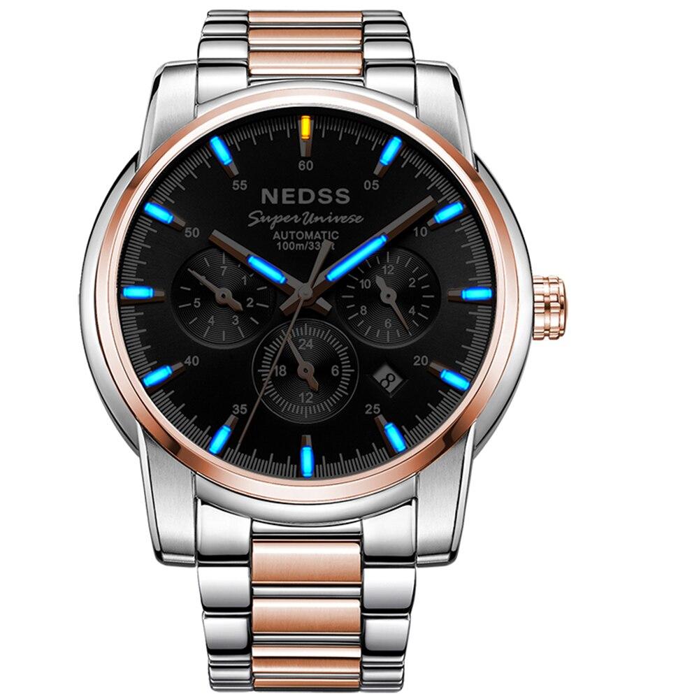 2018 marque de luxe hommes montre tourbillon automatique Chronograp montre en acier 10Bar étanche saphir tritium montres