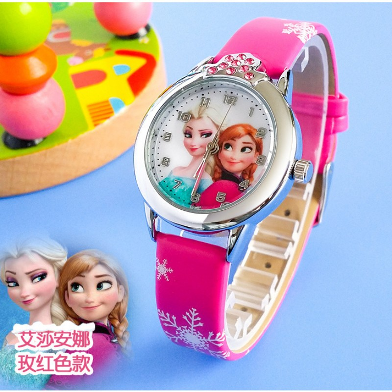 New Cartoon Children Princess Elsa Anna Watch Fashion Girl Kids Student Diamond Leather Analog Wrist Watches Relojes Kol Saati