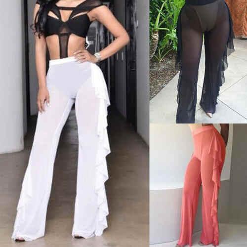 Сексуальные гофрированные женские пляжные брюки в сеточку прозрачные широкие брюки прозрачные длинные брюки накидка бикини брюки
