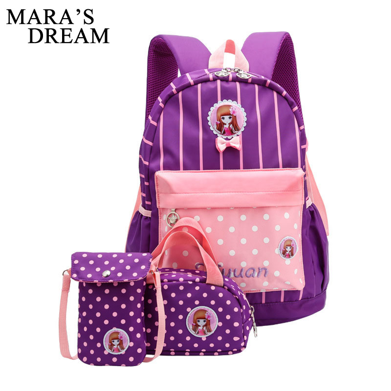 Mara's Dream Girl School Bags For Teenagers Backpack Set Women Shoulder Travel Bags 3 Pcs Set Rucksack Mochila Knapsack Bag Set 2017 new women printing backpack canvas school bags for teenagers shoulder bag travel bagpack rucksack bolsas mochilas femininas