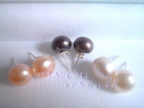 Wholesale 36Pairs 6MM Top Quality Freshwater Pearl Silver Plated (marked 925) Stud Earring Jewelry,Free Shipping