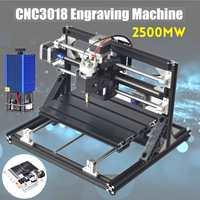 Cnc3018 3 roteador do eixo gravador mini cnc roteador diy fresagem de madeira gravura a laser máquina + 2500 mw cabeça laser|Roteadores de madeira| |  -