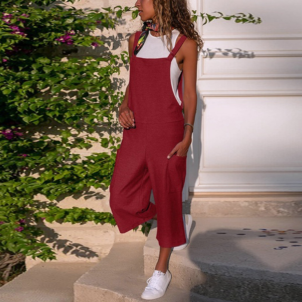 FeiTong Women Sleeveless Dungarees Loose Cotton Linen Long Playsuit Wide Leg   Jumpsuit   Casual Overalls Pants Female   Jumpsuits
