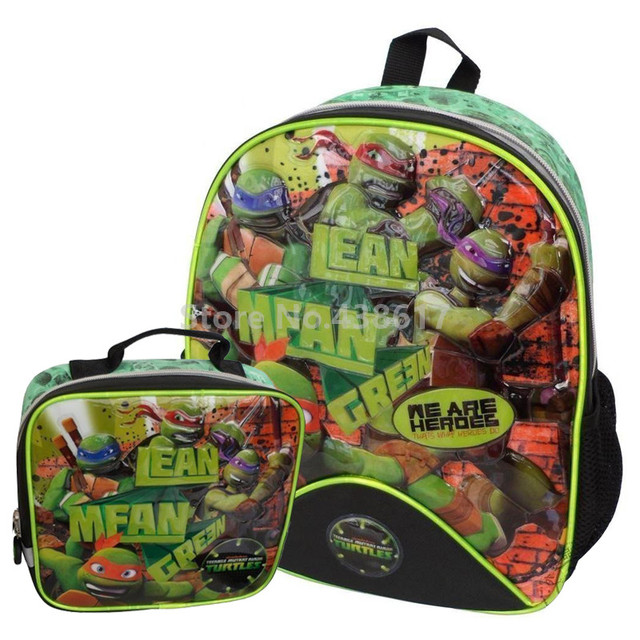 New Teenage Mutant Ninja Turtles Backpack School Bags With Lunch Set for Boys  Children Kindergarten Preschool f98a0fd203217