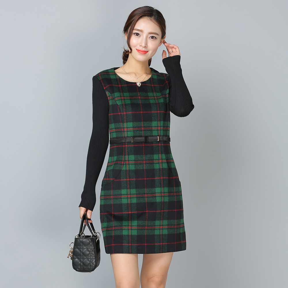 Patchwork Women Autumn Dresses Long Sleeve O-Neck Robe Femme Plaid Sashes Vestido de Festa Plus Size Knitted Bodycon Dress 1E53A knitted pockets women sweater mini dress v neck long sleeve dresses autumn winter 2018 loose robe femme plus size gv063
