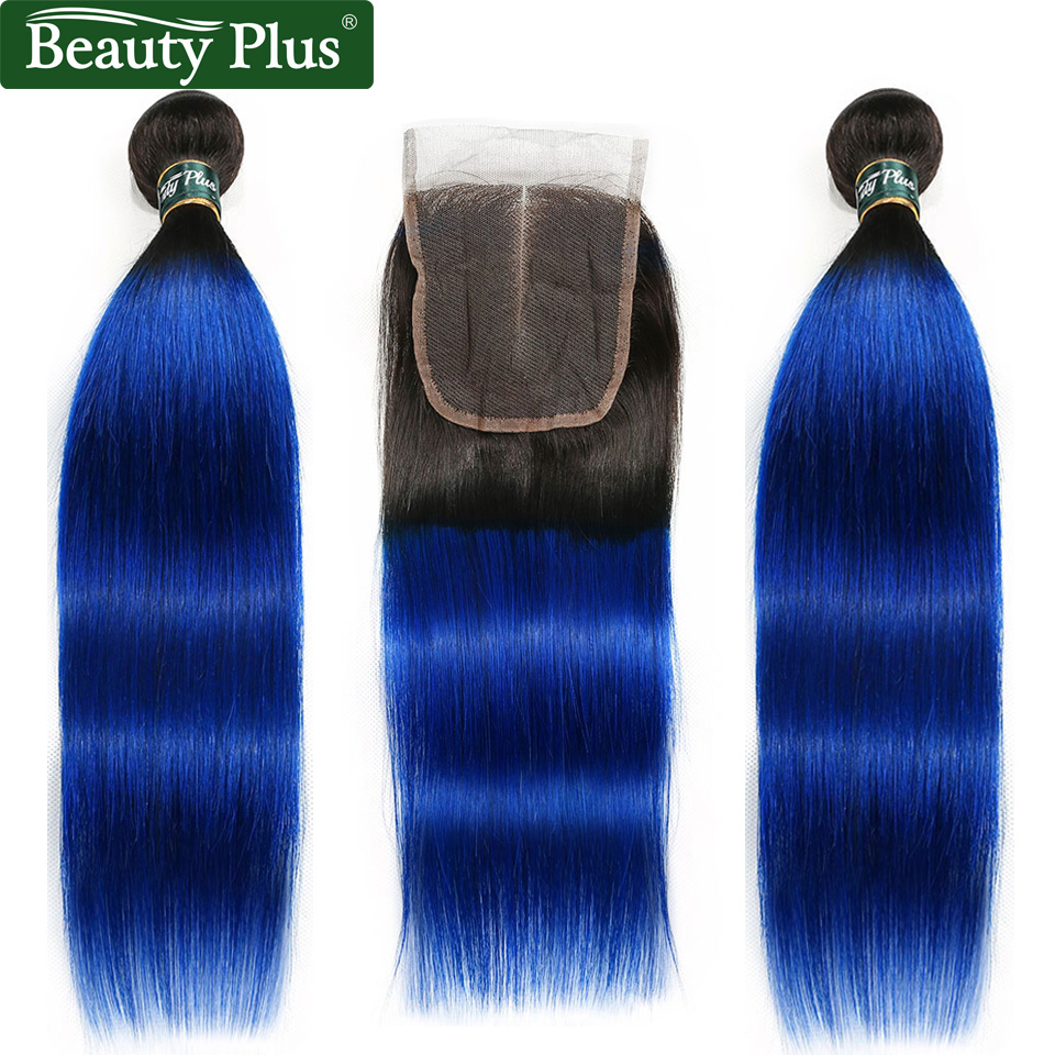 Ombre Bundles With Closure Peruvian Straight Human Hair Weave Beauty Plus Nonremy Blue Green Pink Blonde