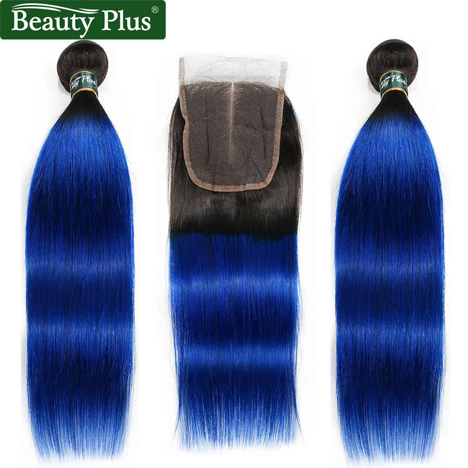 Ombre Bundles With Closure Peruvian Straight Human Hair Weave Beauty Plus Nonremy Blue Green Pink Blonde 2 Bundles With Closure