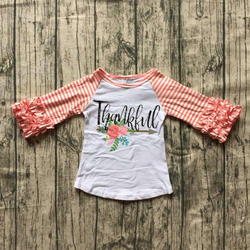 fall winter baby girls thanksgiving coral cotton icing sleeve top t-shirt  stripe raglans c273d9e82f34