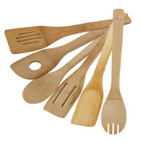 New 1Set 6pcs Cooking Utensils Natural Bamboo Wood Kitchen Slotted Spatula Spoon Mixing Holder Dinner Food