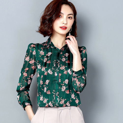 I61188 New Arrival High quality Solid Color Women Chiffon Shirt