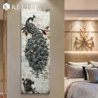 40x120cm Peacock Wall Art Painting Animal Acrylic Drawing Craft Handpainted Wall Pictures