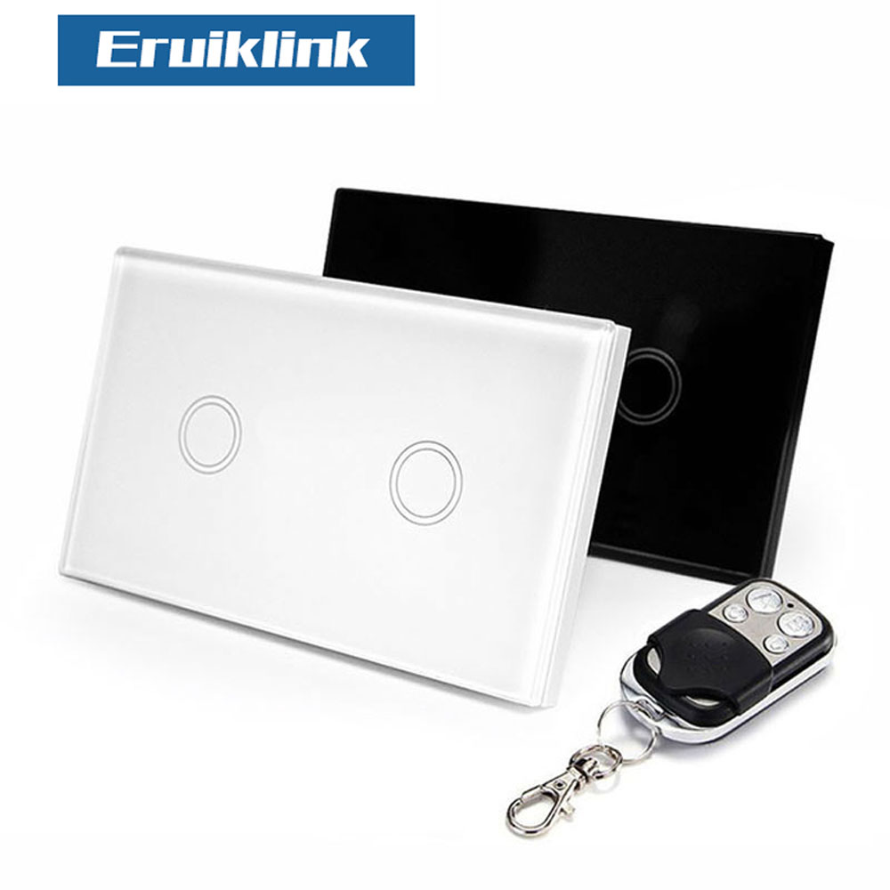 Eruiklink US/AU Standard 2 Gang 1 Way Remote Control Wall Touch Switch, RF433 Remote Control Light Switch For Smart Home us au standard 2 gang 1 way wireless remote control switch rf433 led wall switch touch light remote switch for smart home