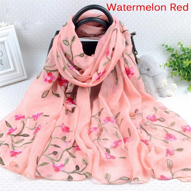 Fashion Elegant Women Long Embroidery   Scarf     Wrap   Ladies Shawl Silk   Scarves   Shawls and   Wraps   Ladies   Scarf