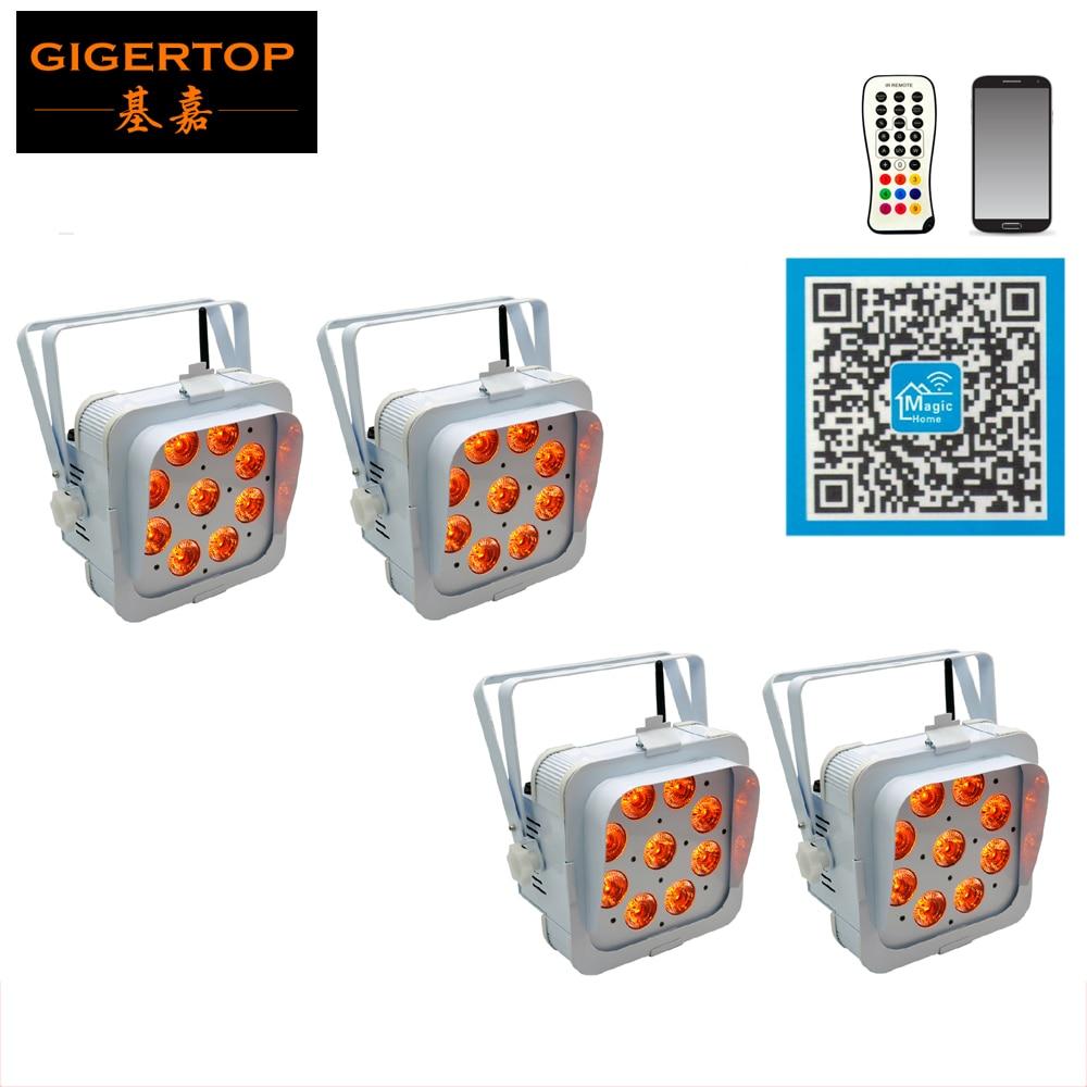 beabf1184478cd Livraison gratuite 4 Unité Batterie Propulsé Plat LED PAR Lumière Avec Sans  Fil 9 15 W RGBAW 5in1 LED Boîtier Blanc faisceau Éblouissement Bouclier