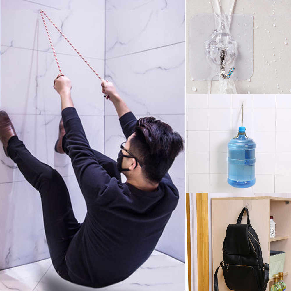 透明強力な自己接着壁ハンガー吸引カップ壁フックタオルモップハンドバッグハンガーキッチン浴室ドア用品