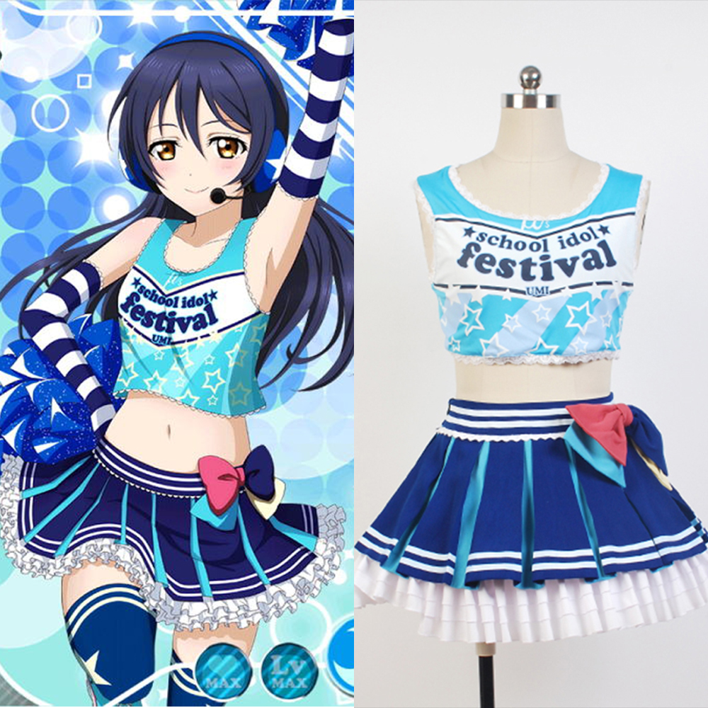 LoveLive! Love Live Sonoda Umi Cheerleaders Cosplay Costumes For Women Dress Anime Halloween Cosplay Costume uwowo sonoda umi wig love live hair 80 cm long blue straight heat resistant wig lovelive umi hair
