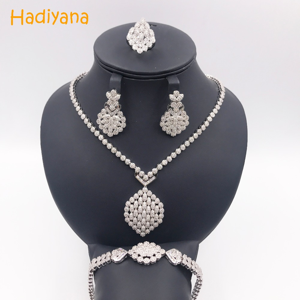 Hadiyana Luxury Cubic Zircon 4pcs Set New Trendy Bridal Jewelry Wedding Set For Women Wholesale Copper Dubai Jewelry Sets CN161 цены онлайн