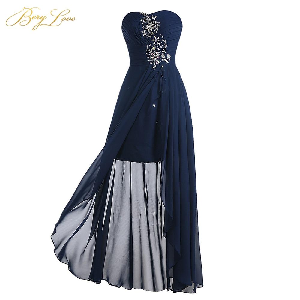BeryLove High Low Navy Bridesmaid Dresses 2019 Long Beaded Strapless Bridesmaid Dresses Cheap Beach Wedding Bridesmaid