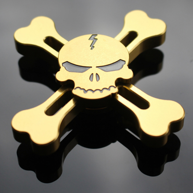 2017 Hot sales Toy Skull Metal Fidget Hand Spinner Tri Spinner Finger Gyro Toy Gift For