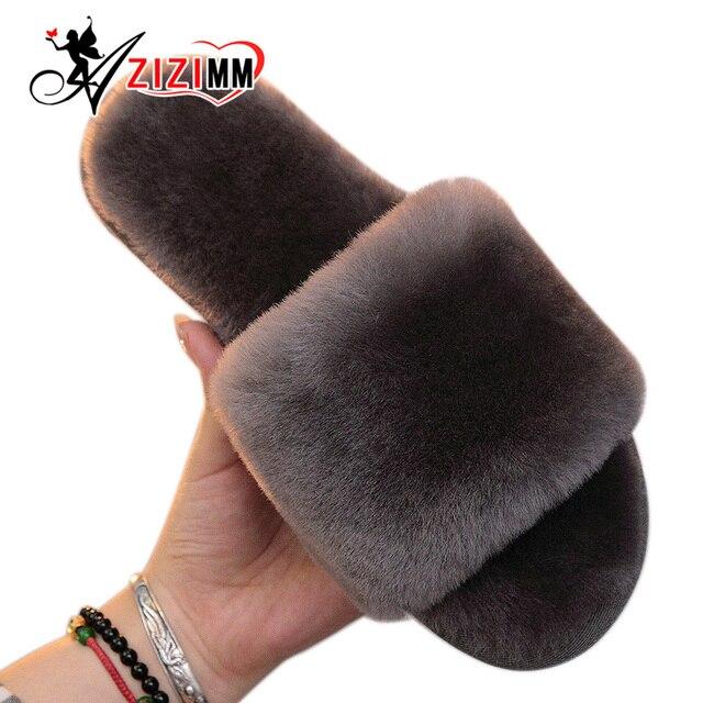 Натуральный Мех Тапочки Женщин Главная Зима Теплая Крытый Шерстяные Тапочки 2016 Мода Пушистый Овчины Австралия Домашние Тапочки AWM210