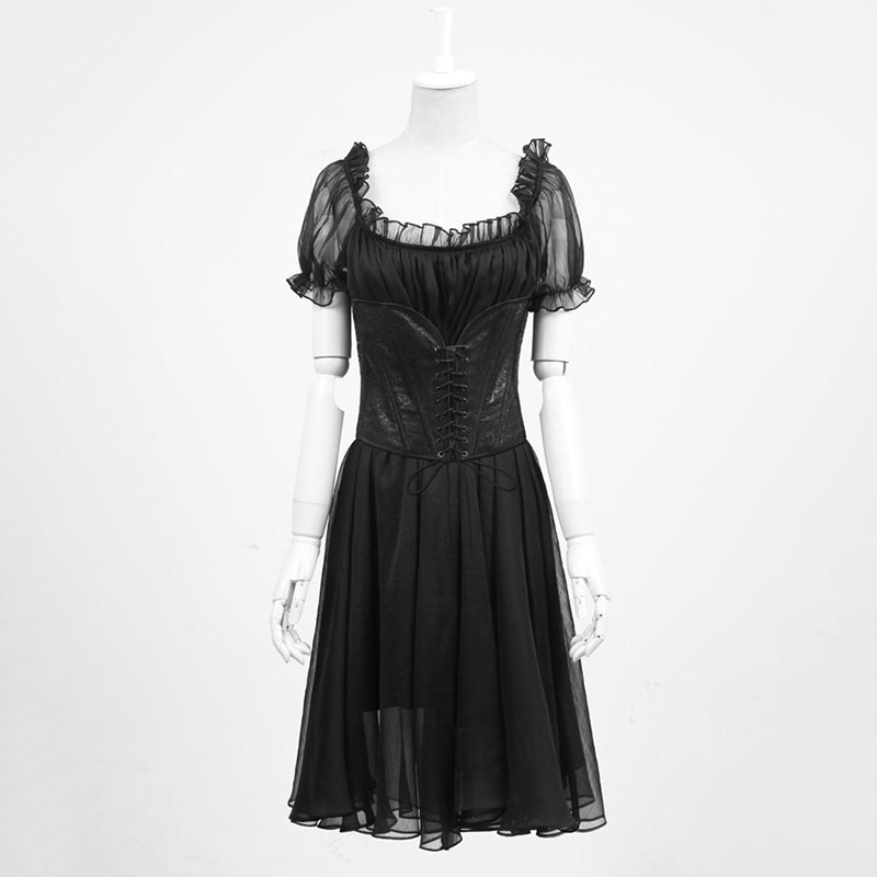 Steampunk Gothic Victorian Summer Black Y Lace Backless Women Dress Punk Vintage Two Pieces Short Sleeve Dresses In From S Clothing