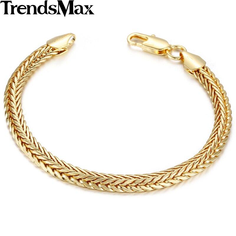 Trendsmax 6mm, dámský náramek Foxtail Link, žluté zlato, zlato, plněné náramky, dárkové šperky GBM71