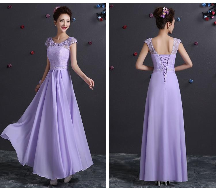 Sweet Memory Lace Up Chiffon Bridesmaid Dresses Light Purple Beautiful Long Formal Dress SW180630