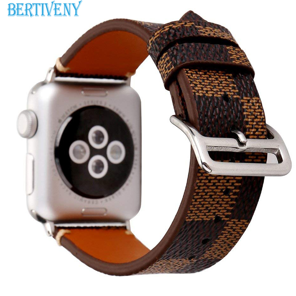 Luxury fashion leather band for apple watch 38mm/40mm 42mm/44mm iwatch plaid bracelet strap for apple watch series 4 3 2 1 20 colors sport band for apple watch band 44mm 40mm 38mm 42mm replacement watch strap for iwatch bands series 4 3 2 1