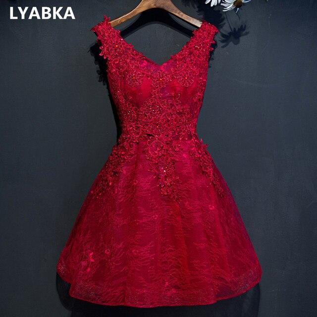 6ef10712ea Evening dress 2019 burgundy black short design the banquet dress one-piece  dress V-neck plus size women short evening dresses