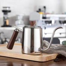 Stainless Steel Drip Kettle Coffee kettle Swan Neck Tea Pot Milk Frothing Jug With Wooden Handle 350ml 550ml