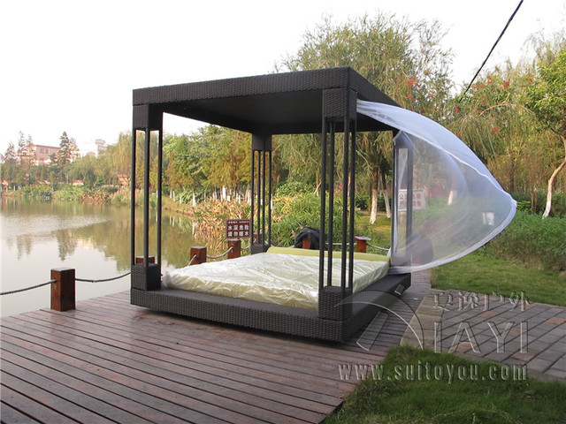 Most Popular Outdoor Furniture Rattan Daybed With Canopy Sun Bed Lounge Rattan  Bed Wicker Cabana No