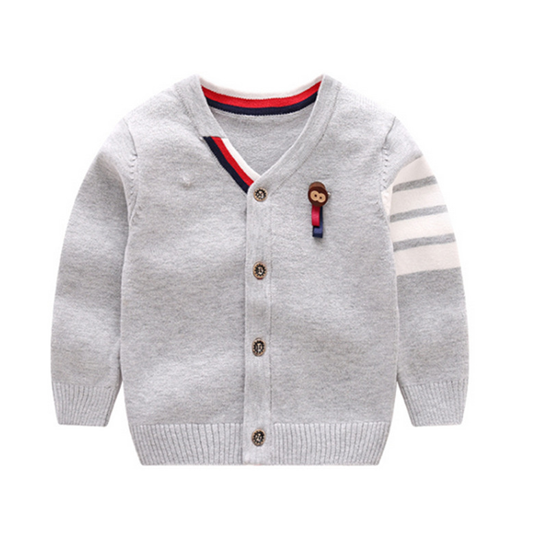 Casual Baby Sweater Long Sleeve V-Neck Boy Sweater Cotton Solid Infant Cardigan Spring Autumn Boy Sweater Coat Baby Boy Clothing