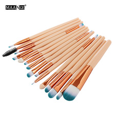 MAANGE Pro 15Pcs Makeup Brushes Set Eye Shadow Foundation Powder Eyeliner Eyelash Lip Make Up Brush Cosmetic Beauty Tool Kit Hot цена в Москве и Питере