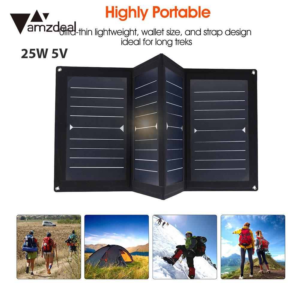 25W 5V USB Solar Panel 25W Outdoor Fast Solar Charger Travel Portable Solar Charging Waterproof Phone Charger Folding Solar Pane portable solar charging panels outdoor travel emergency 24w 5v 18v solar power mobile phone gps bluetooth earphone solar charger