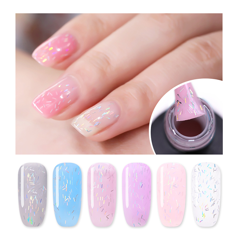Nicole Diary Translucent Lace Gel Polish 6ml Holo Stripe Laser Glitter Soak Off Uv 6 Colors