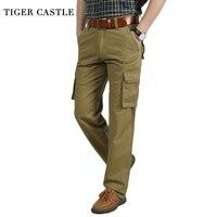TIGER SCHLOSS Männer Military Style Cargo Pants Khaki Armee Muliti Tasche Gerade Männliche Taktische Hosen Mode Lange Hosen