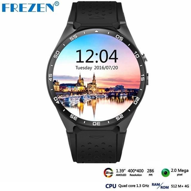 Frezen Горячие Kingwear Kw88 Android 5.1 Смарт часы-1.39 inch 400*400 SmartWatch телефон Поддержка 3 г WI-FI Nano SIM сердечного ритма PK X200