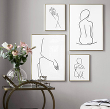 Line Drawing Sexy Girl Body Abstract Painting Nordic Posters And Prints Wall Art Canvas Pictures For Living Room