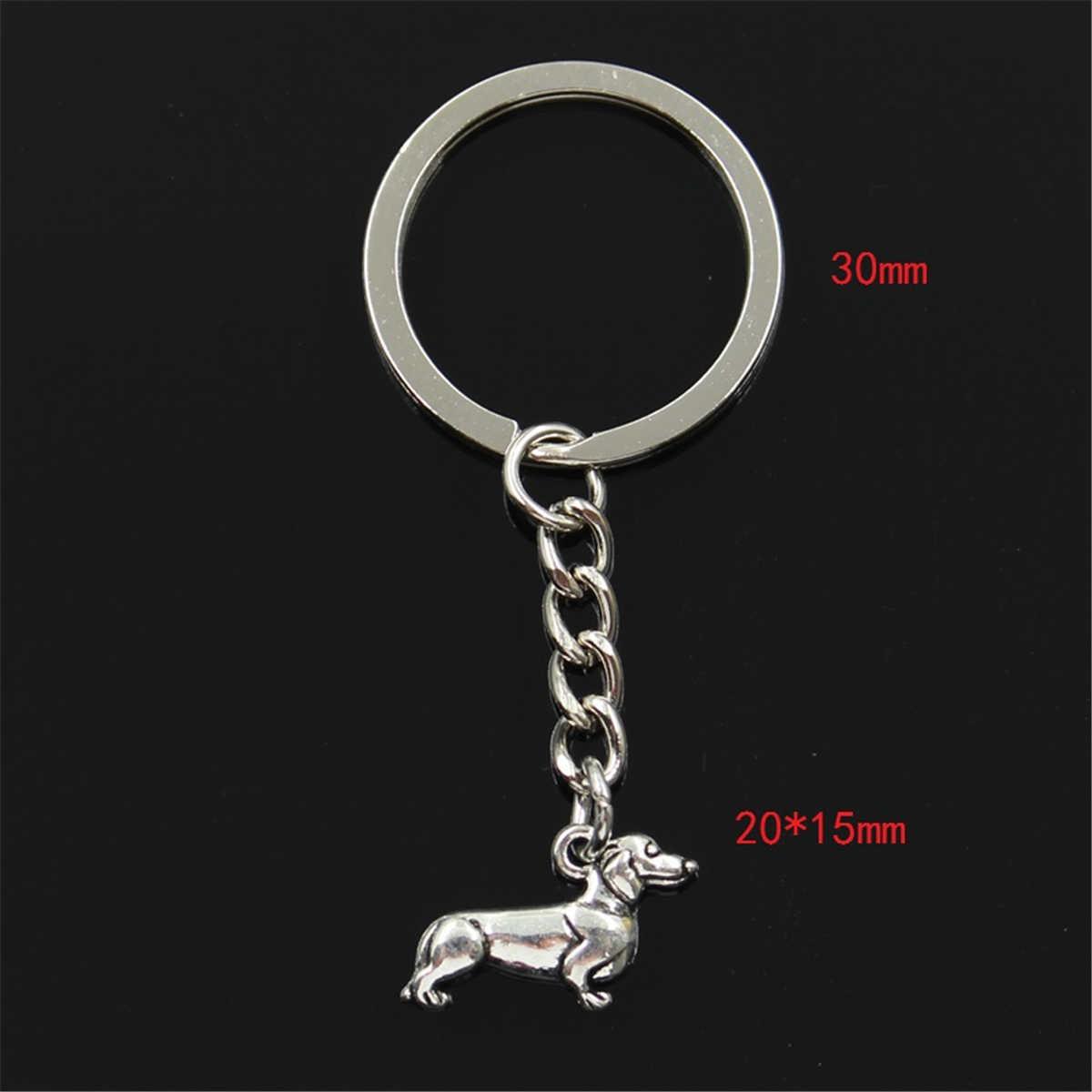 Новая мода для мужчин 30 мм брелок DIY металлический держатель цепочка винтажная Собака Такса 20x15 мм Серебряный кулон подарок