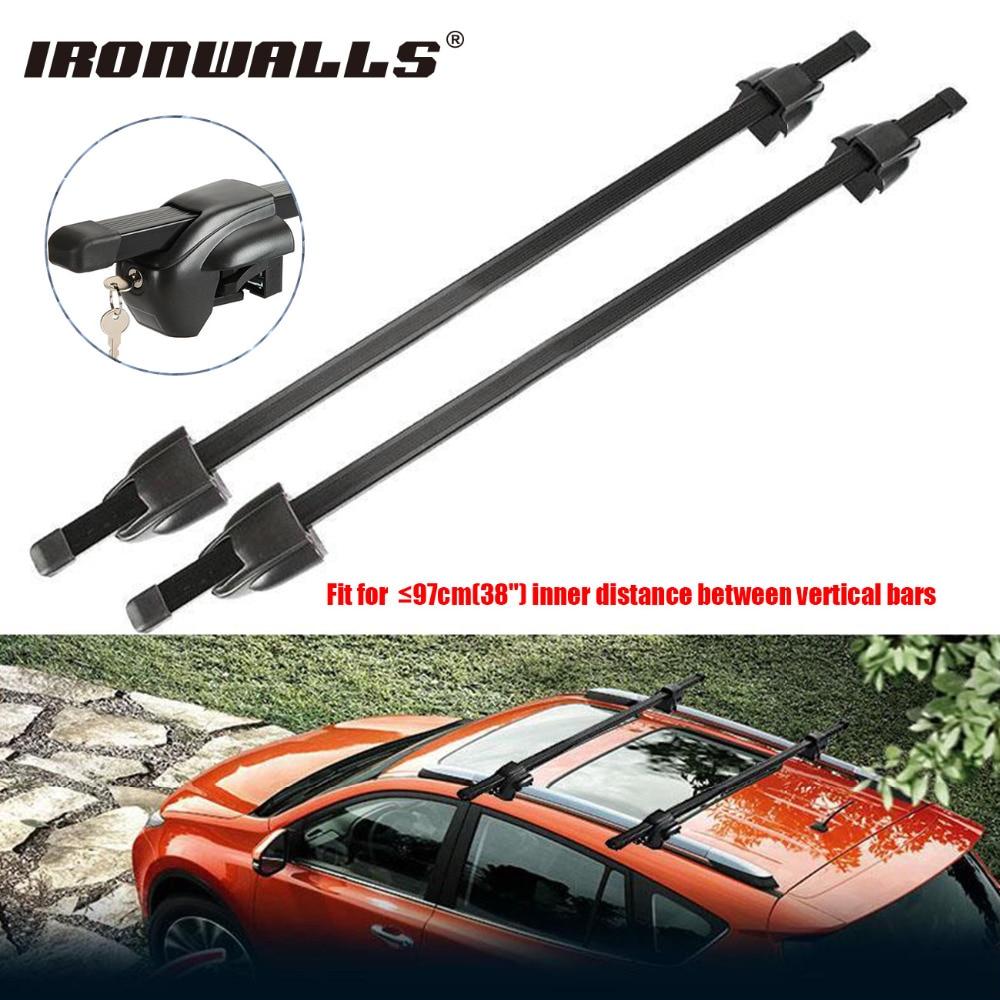 ironwalls 2x car roof rack cross bar top luggage cargo carriers steel 165lbs anti theft lock key for nissan honda bmw x5 x3 ford [ 1000 x 1000 Pixel ]