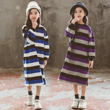 купить Spring Autumn Casual kids Vestido Girl Striped Girls Dresses Girls Clothes Girl Straight Dress Kids Princess Dress For 2-8Y дешево