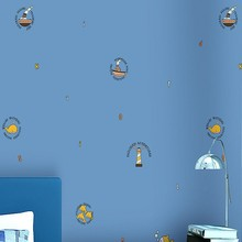 Blue Mediterranean children's room wallpaper boy girl bedroom non-woven wallpaper cute little fish cartoon wallpaper цена 2017