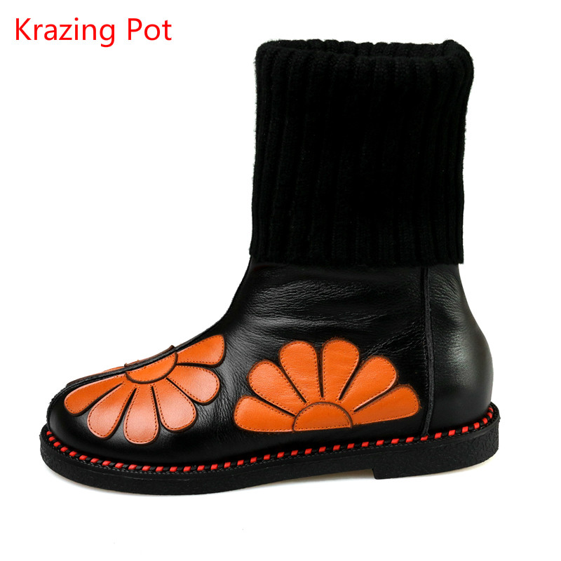 ФОТО Winter Brand Shoes Fashion Printed Flowers Round Toe Med Heel Genuine Leather Wool Mid-calf Boots Runway Style Motorcycle Boots