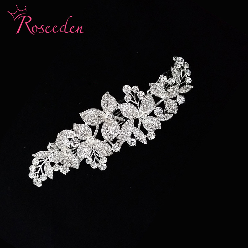 bridal Sparkling crystal rhinestone flowers and leaves wedding accessories Bride Hair Jewelry Headpieces Princess Hair BandRE365 блузка quelle rick cardona by heine 4025