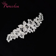 bridal Sparkling crystal rhinestone flowers and leaves wedding accessories Bride Hair Jewelry Headpieces Princess BandRE365