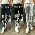 Mens Joggers Pantalones 2017 Marca Hombre Pantalones Cargo Delgado Patrón de Impresión Pantalones Medias de Compresión Hombres Basculador